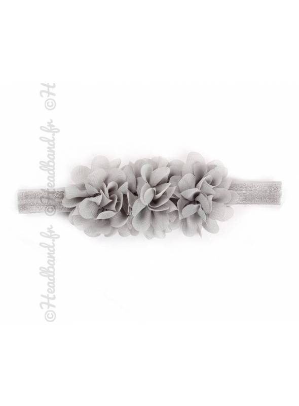 Bandeau mousseline fleur grise