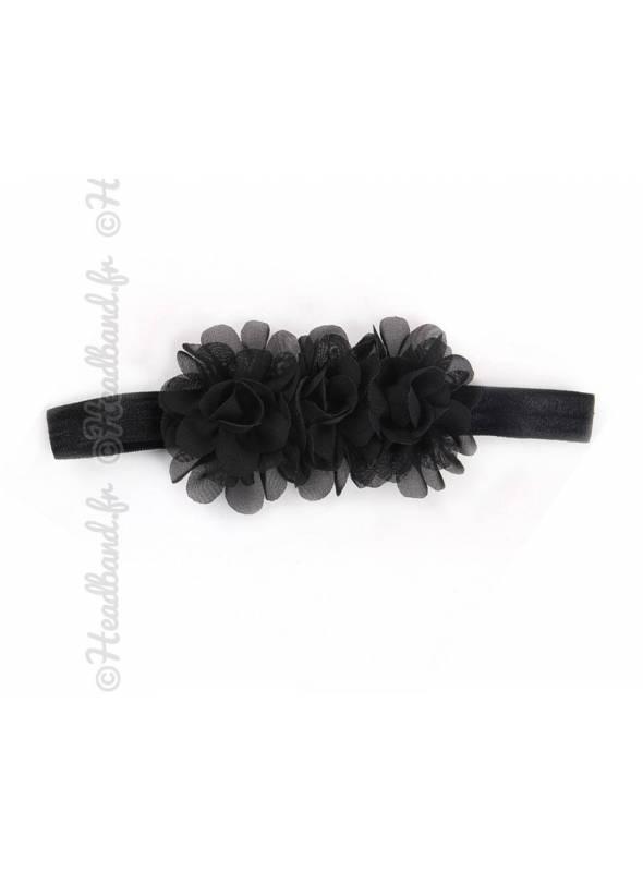 Bandeau mousseline fleur noire