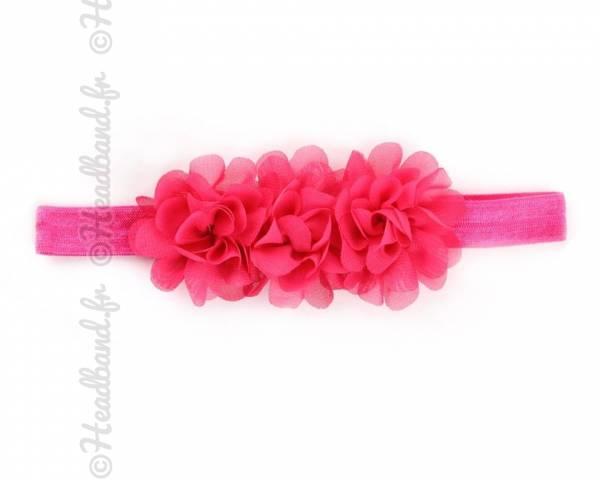 Bandeau mousseline fleur fushia