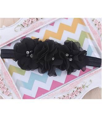 Bandeau triple fleur noir