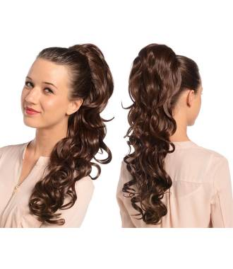 Maxi ponytail bouclée - Noisette porté