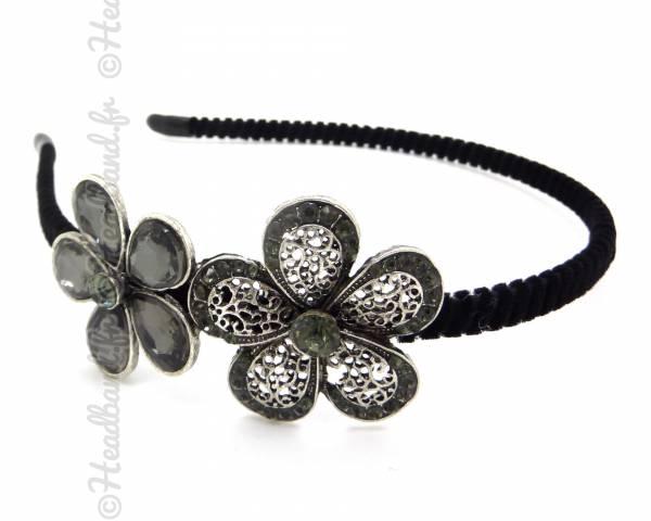 Serre-tête double fleurs grises