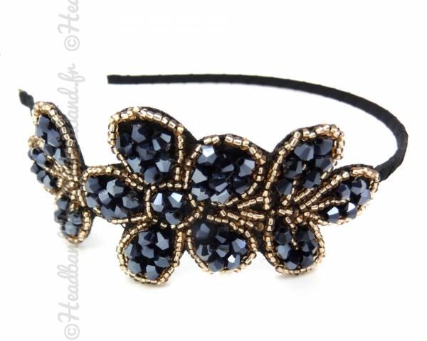 Serre-tête fleur perlé bleu