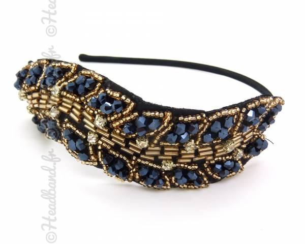 Serre-tête perles à facettes bleu