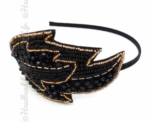 Serre-tête feuille perlée noire