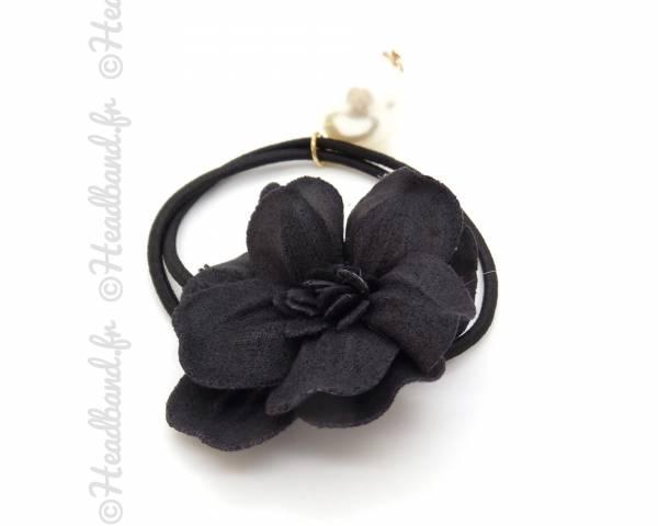 Elastique fleur et perle noire