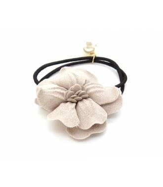 Elastique fleur et perle beige