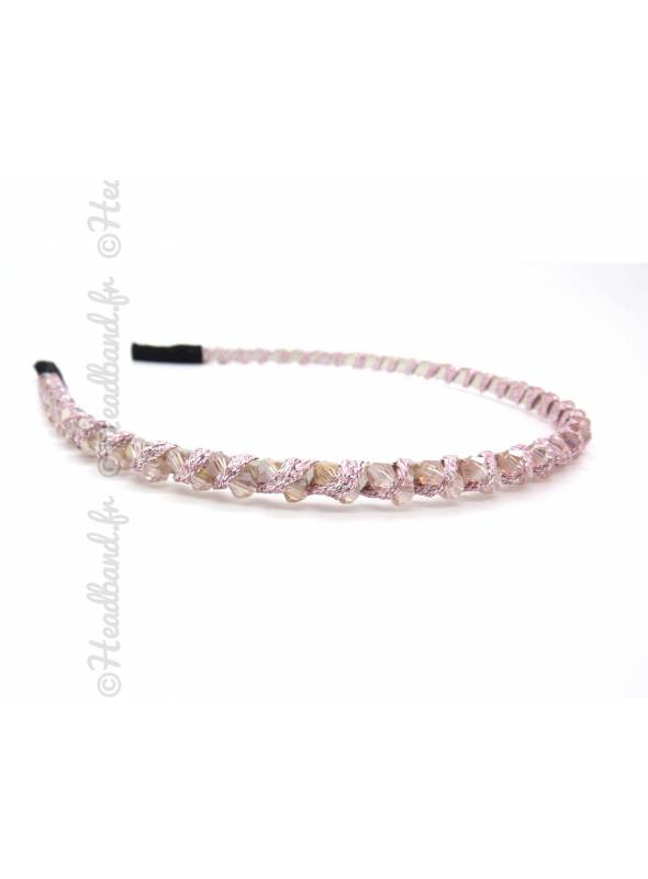 Serre-tête ruban et perles rose