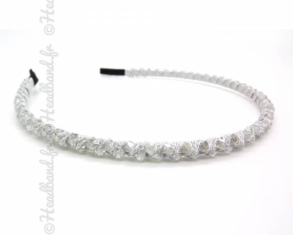 Serre-tête ruban et perles blanc