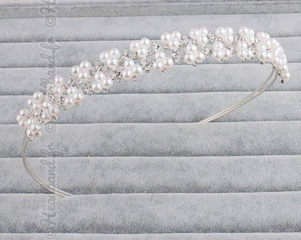 Serre-tête mariée large perles
