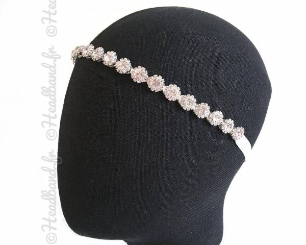 Tour de tête doré ruban blanc