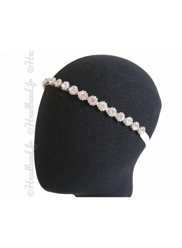 Tour de tête doré ruban blanc porté