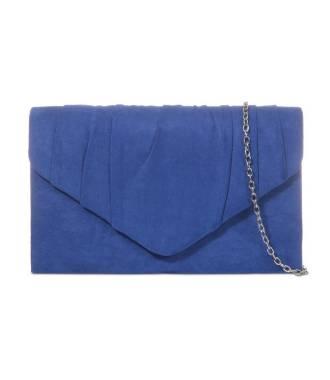 Pochette daim bleu roi