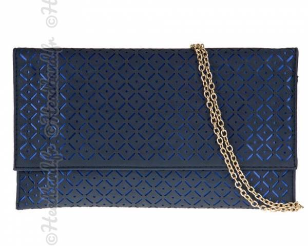 Pochette motifs ajourés bleue