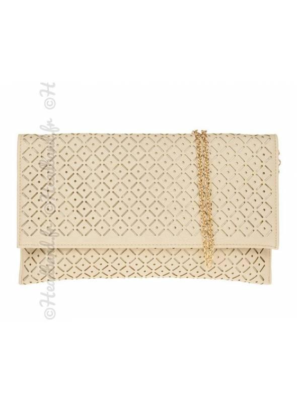Pochette motifs ajourés beige