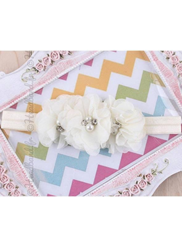 Bandeau triple fleur blanc