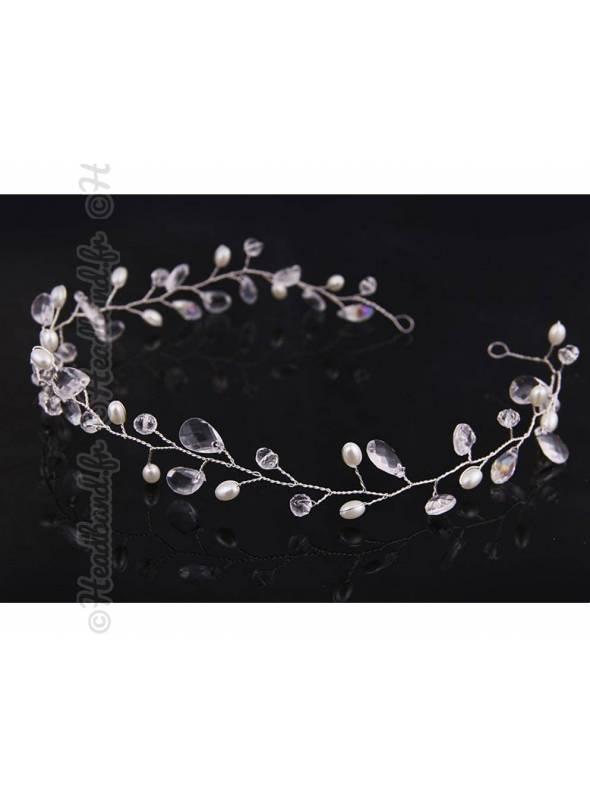 Tiare vigne perles romantiques