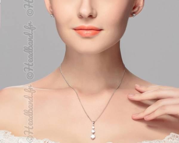 Parure bijoux femme strass triple mariée
