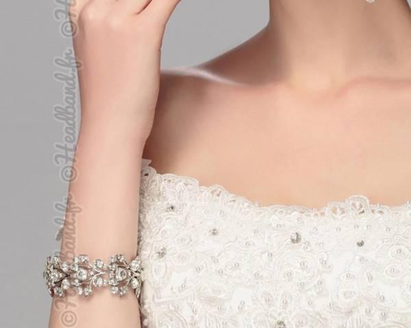 Bracelet manchette large perlé