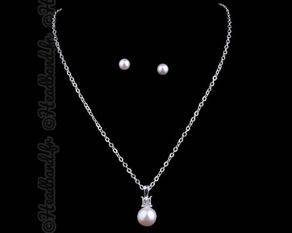 Parure collier perle blanche