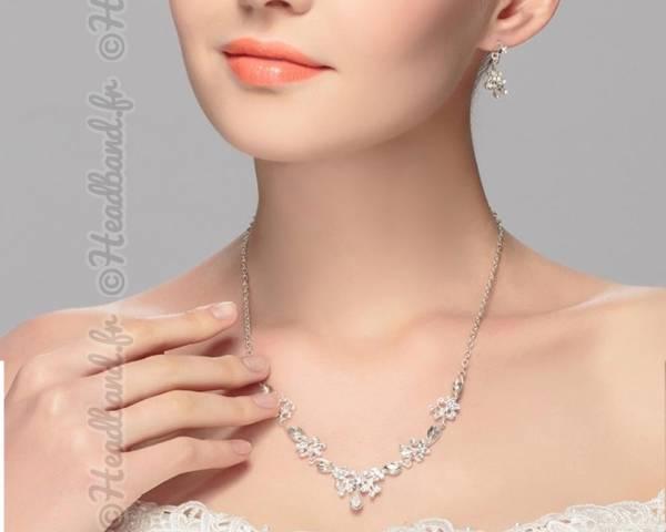 Parure bijoux cristaux forme v