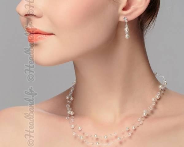 Parure fines perles double rang