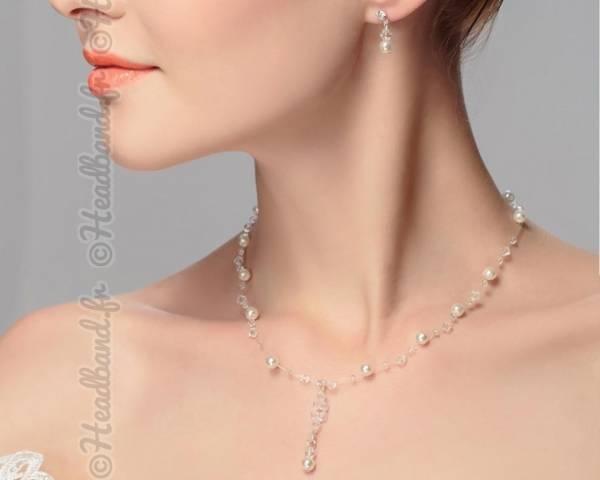 Collier et boucles en perles