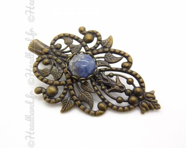 Barrette leaf bleue