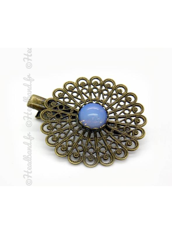 Barrette arabesque agate bleue