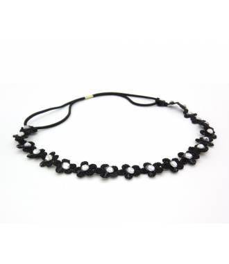 Headband dentelle fleur noir