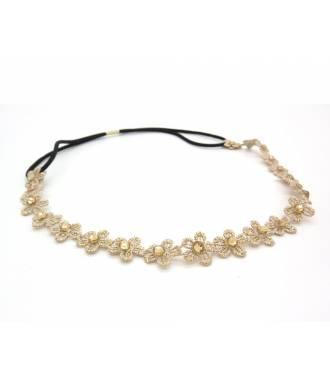 Headband dentelle fleur beige