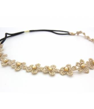 Headband dentelle fleur beige zoom