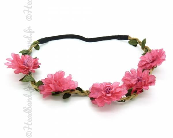 Couronne de fleurs rose foncé