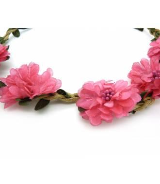 Couronne de fleurs rose foncé 2