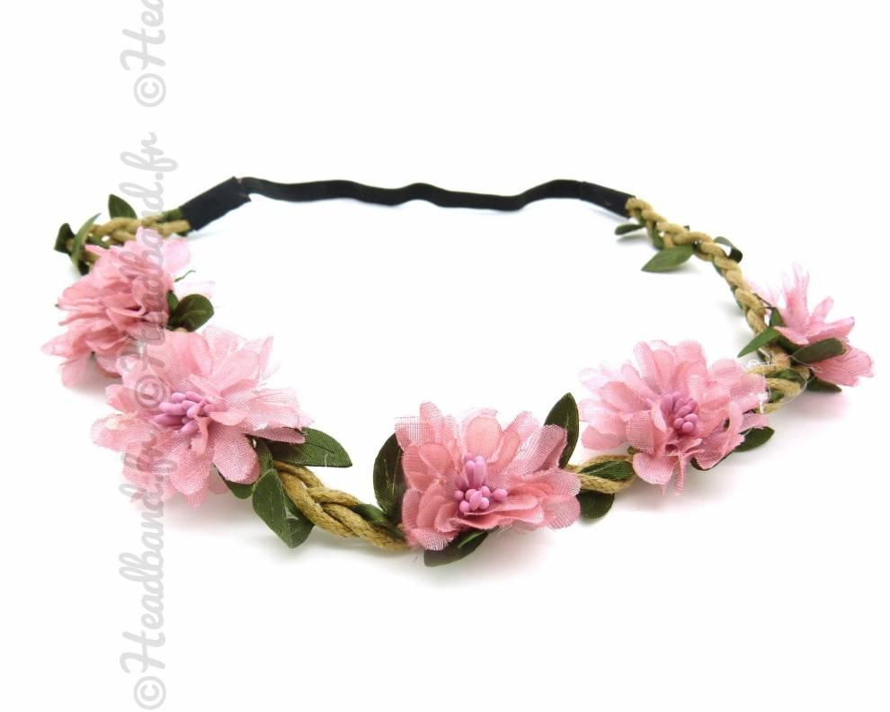 Couronne de fleurs rose clair for Couronne de fleurs