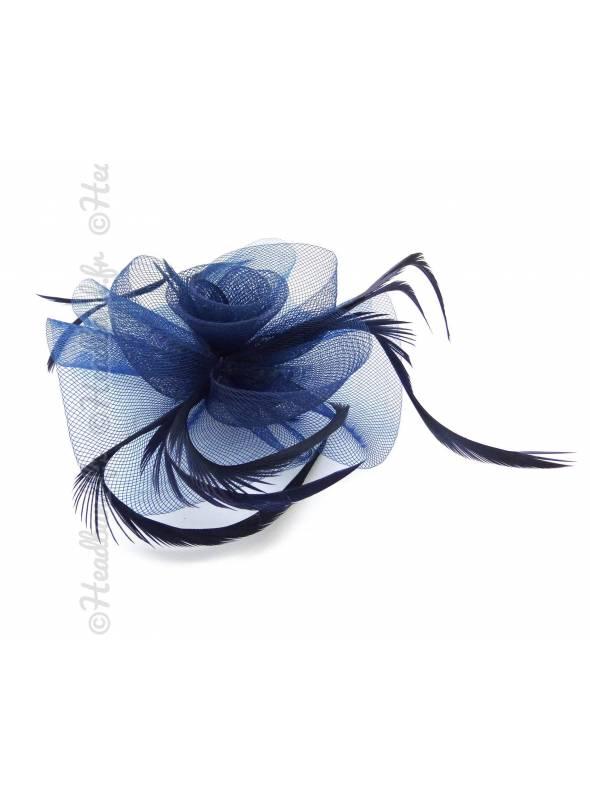Mini chapeau tulle bleu