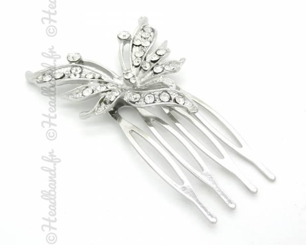 Peigne papillon argenté strass