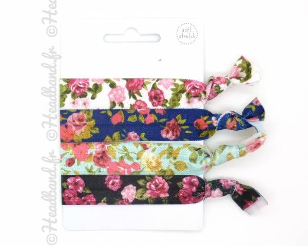 Lot 4 élastiques imprimés floraux