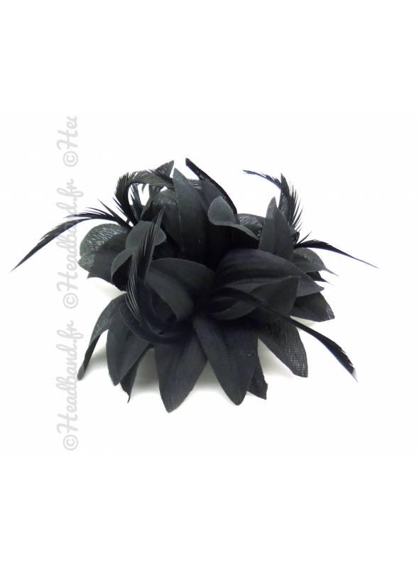 Barrette cocktail fleur noire