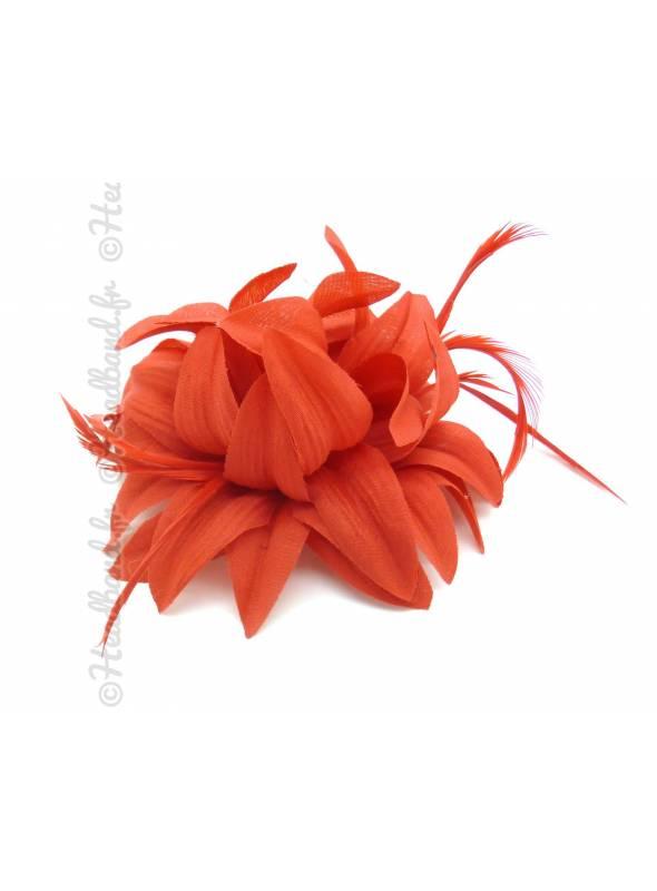 Barrette cocktail fleur rouge