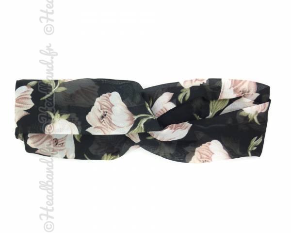 Bandeau noir grandes fleurs