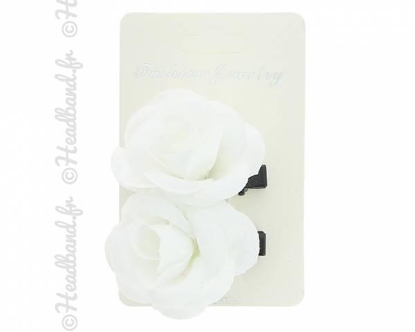Lot de 2 pinces fleurs blanches