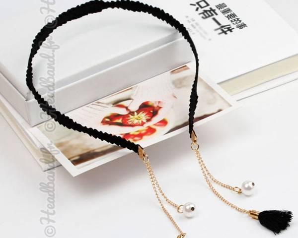 Serre-tête chaîne et perles noir