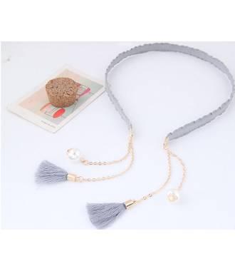Serre-tête chaîne et perles gris