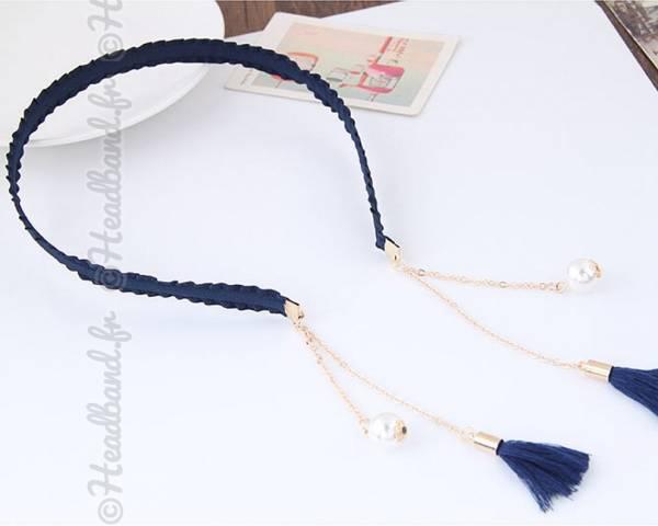 Serre-tête chaîne et perles bleu