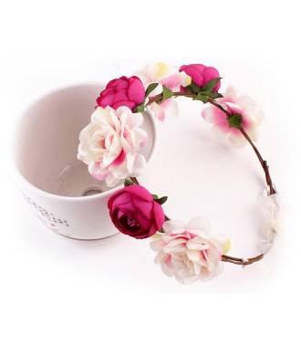 Couronne champêtre rose