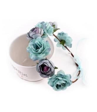 Couronne de fleurs turquoise