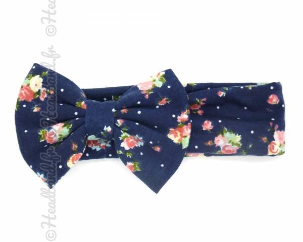 Headband large fleuri marine