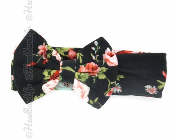 Headband large fleuri noir