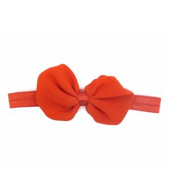 Headband noeud organza rouge